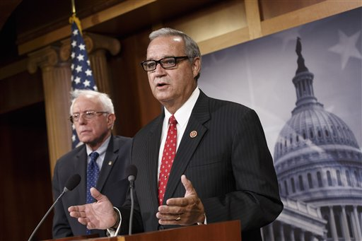 House Veterans' Affairs Committee Chairman Rep. Jeff Miller, R-Fla.,  joined by Senate Veterans' Affairs Committee Chairman Sen. Bernie Sanders, I-Vt., left.   (AP Photo/J. Scott Applewhite)