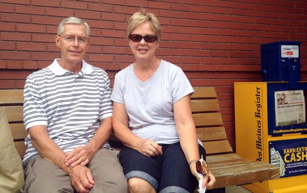 Dave and Cindy Bogle, of Johnston, Iowa, attend the Iowa State Fair in Des Moines. Dave, who says he serves as a military policeman in the late 1960s, thinks the United States should be out of Iraq - it's a no win situation.  (AP Photo/Catherine Lucey)