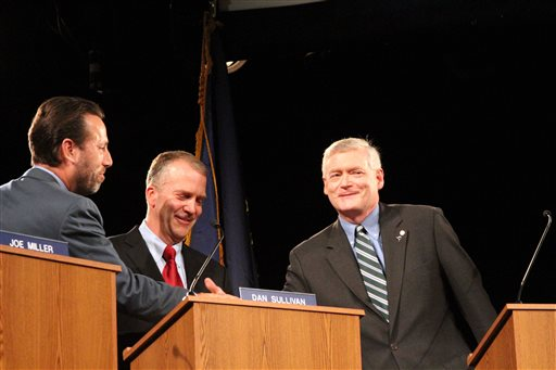 Alaska Republican U.S. Senate candidates Joe Miller left, Dan Sullivan, middle, and Mead Teadwell  (AP Photo/Mark Thiessen)