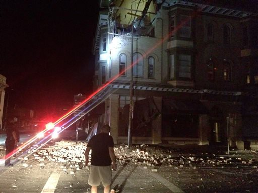 Damage to a building in Napa, Calif. early Sunday  (AP Photo/Lyall Davenport)