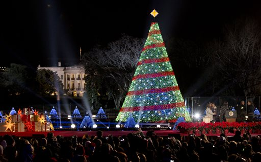 Obama lights up national Christmas tree