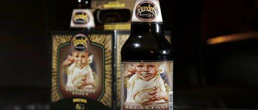 Baby on booze bottle is a stout problem