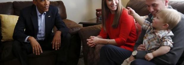 Obama visits a worried mom