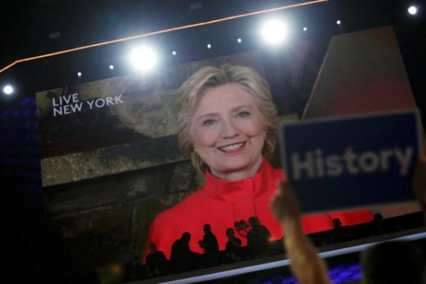 Hillary Clinton breaks the glass ceiling