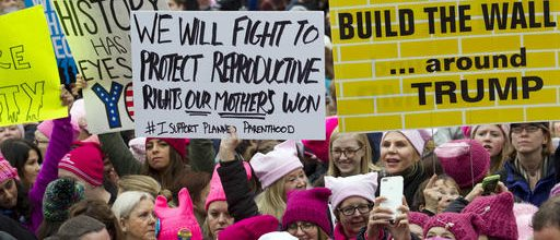 Massive crowds decry Trump