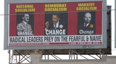 Tea Party billboard compares Obama to Hitler