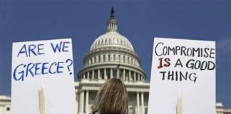 Demonstrators outside the Capitol (Reuters)