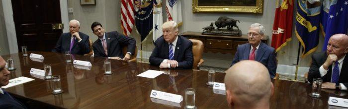 Trump talks tough, then waffles